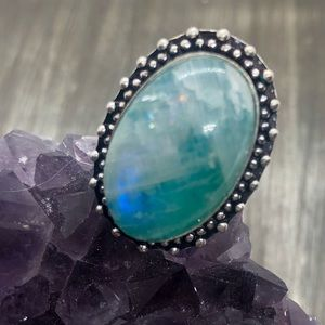 Blue bright flash moon stone ring stamped 925 ring